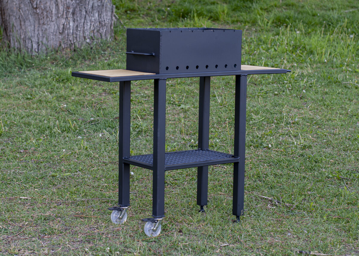 Grill with wood tables